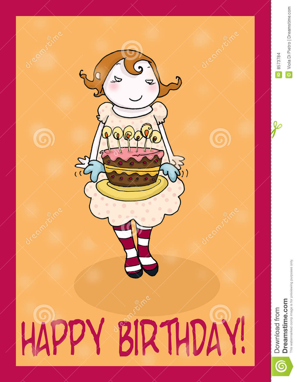 Happy Birthday Cake Greetings Card Stock Illustration Illustration