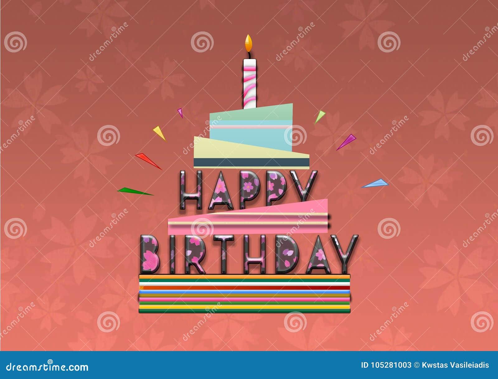 Happy Birthday Cake Illustration Card