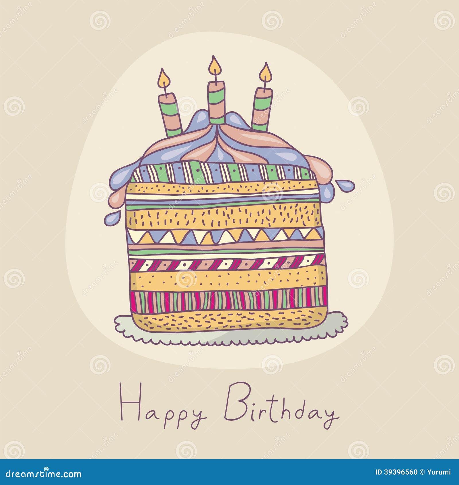 Pleasing Happy Birthday Cake Illustration 39396560 Megapixl Funny Birthday Cards Online Amentibdeldamsfinfo