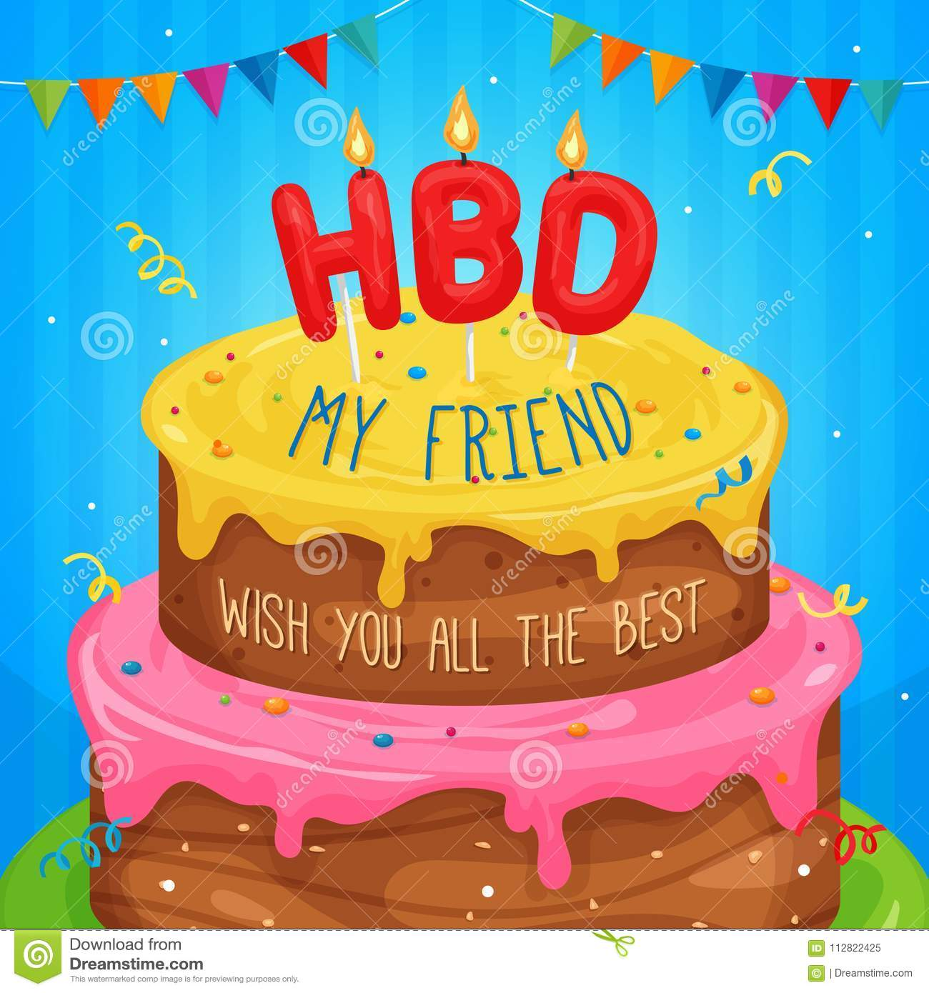Happy Birthday Cake Illustration With Text Stock Vector