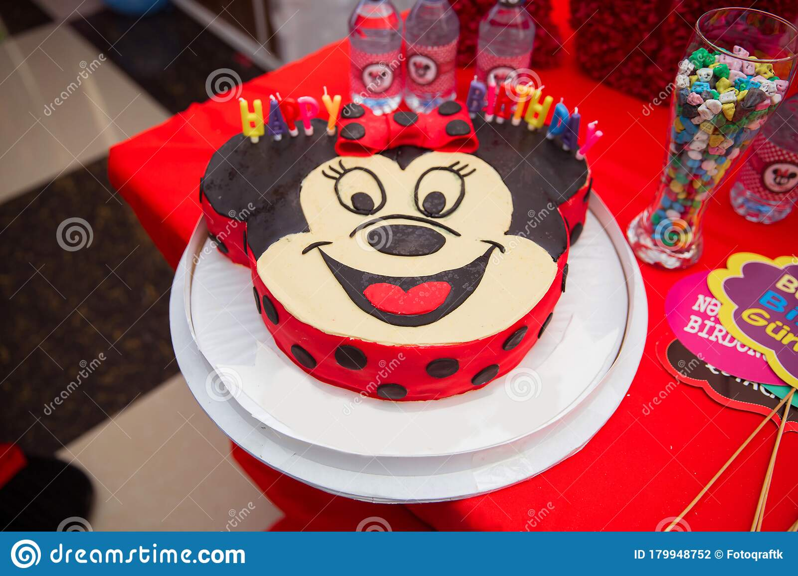 Happy Birthday 10 Cake Mickey Mouse Red Cake Themed Design Of Desserts On The Theme Of Mickey Mouse Thematic Walt Disney Editorial Photography Image Of Cute Baked 179948752