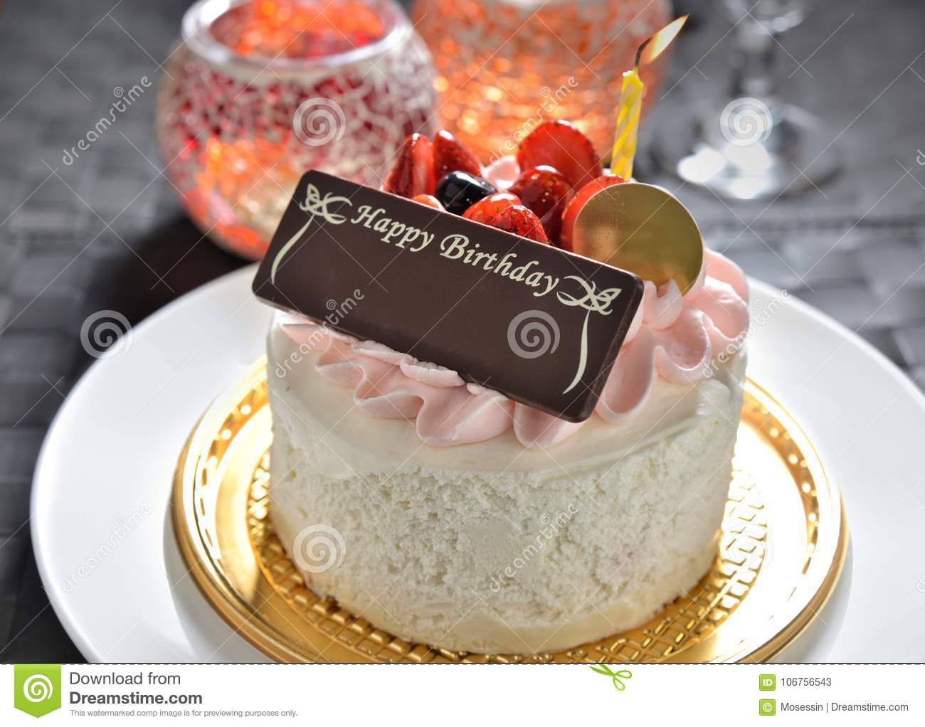 Pleasing Birthday Cake With Name Tag Stock Image Image Of Creamy Funny Birthday Cards Online Aeocydamsfinfo