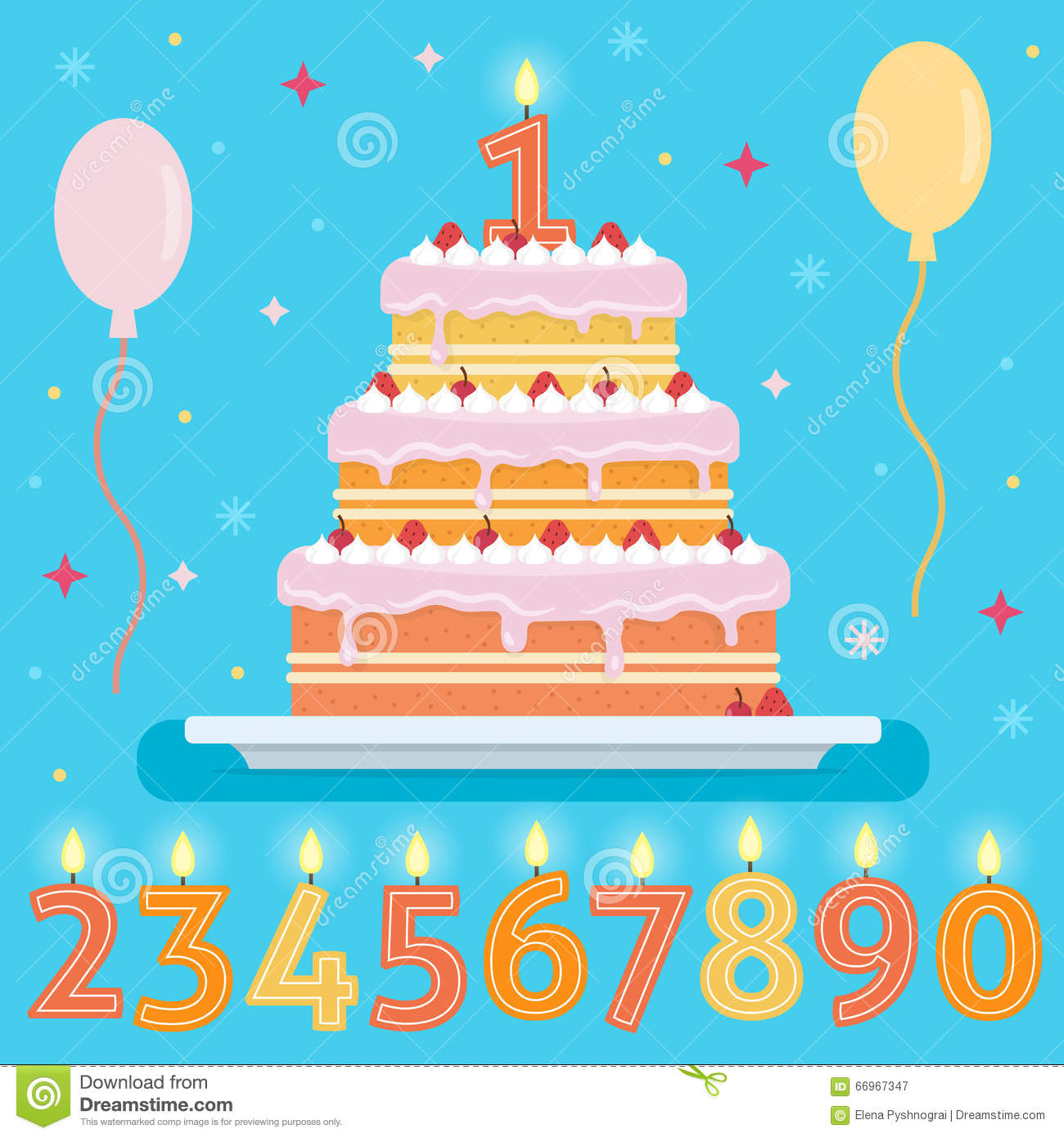 Happy Birthday Cake With Numbers Candles Stock Vector