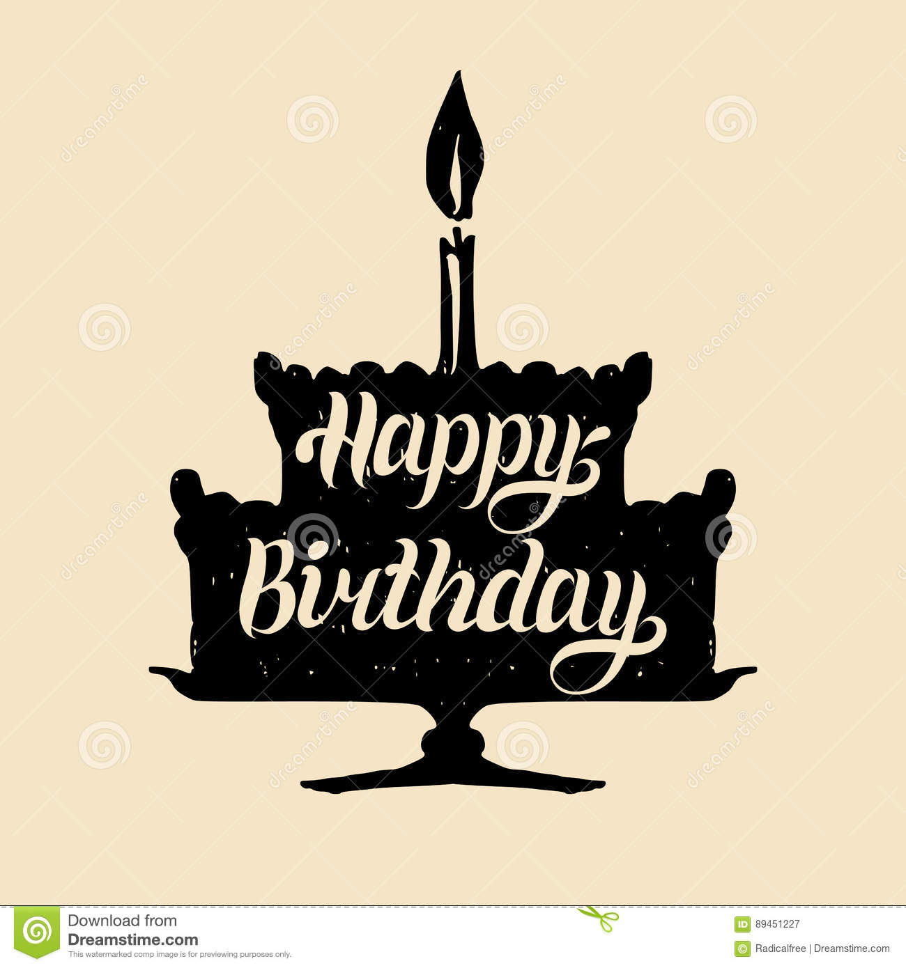 Happy Birthday Cake With One Candle. Vector Hand Lettering ...