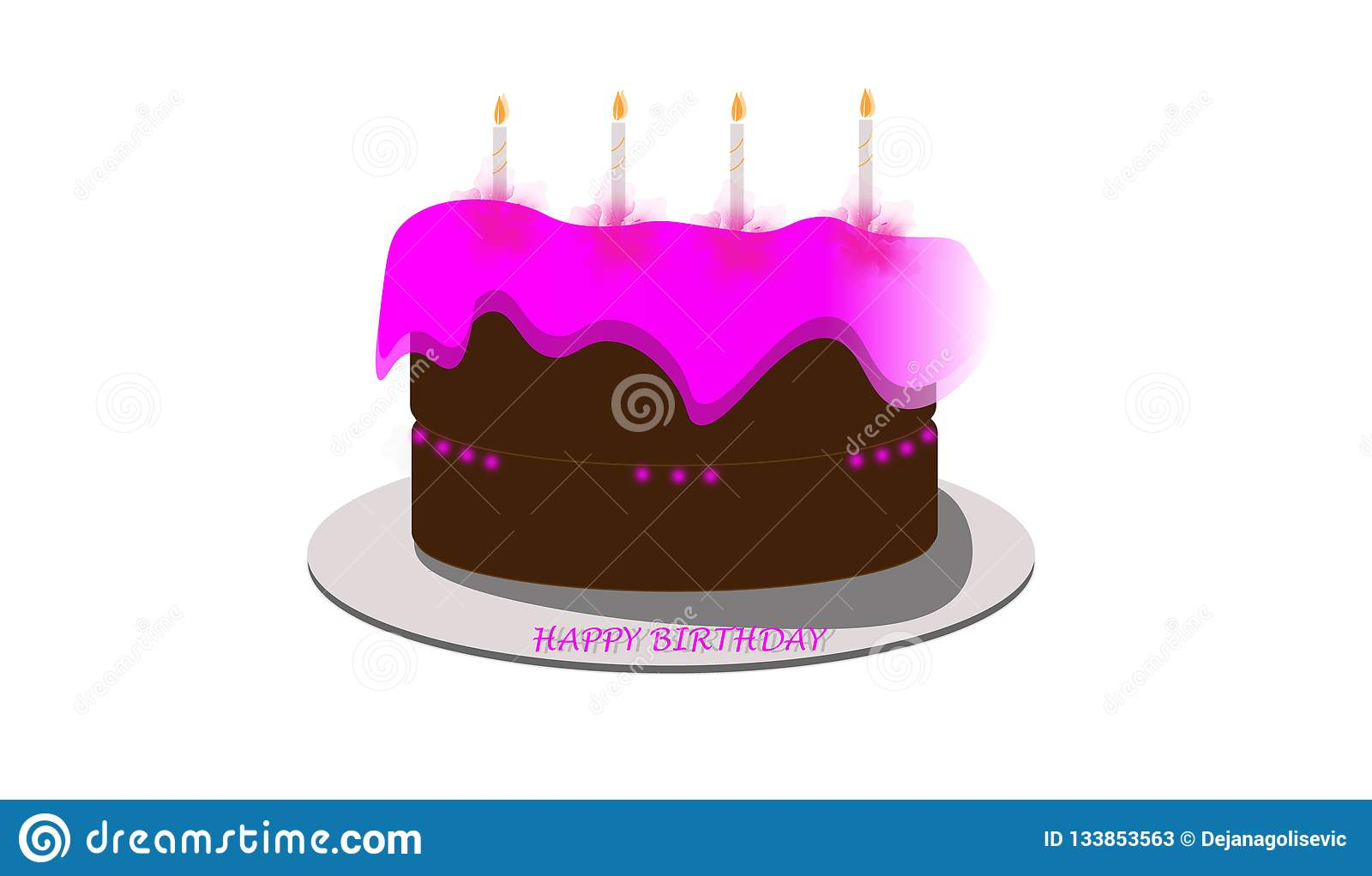 Pink And Brown Birthday Cake For Girls With Magic Candles