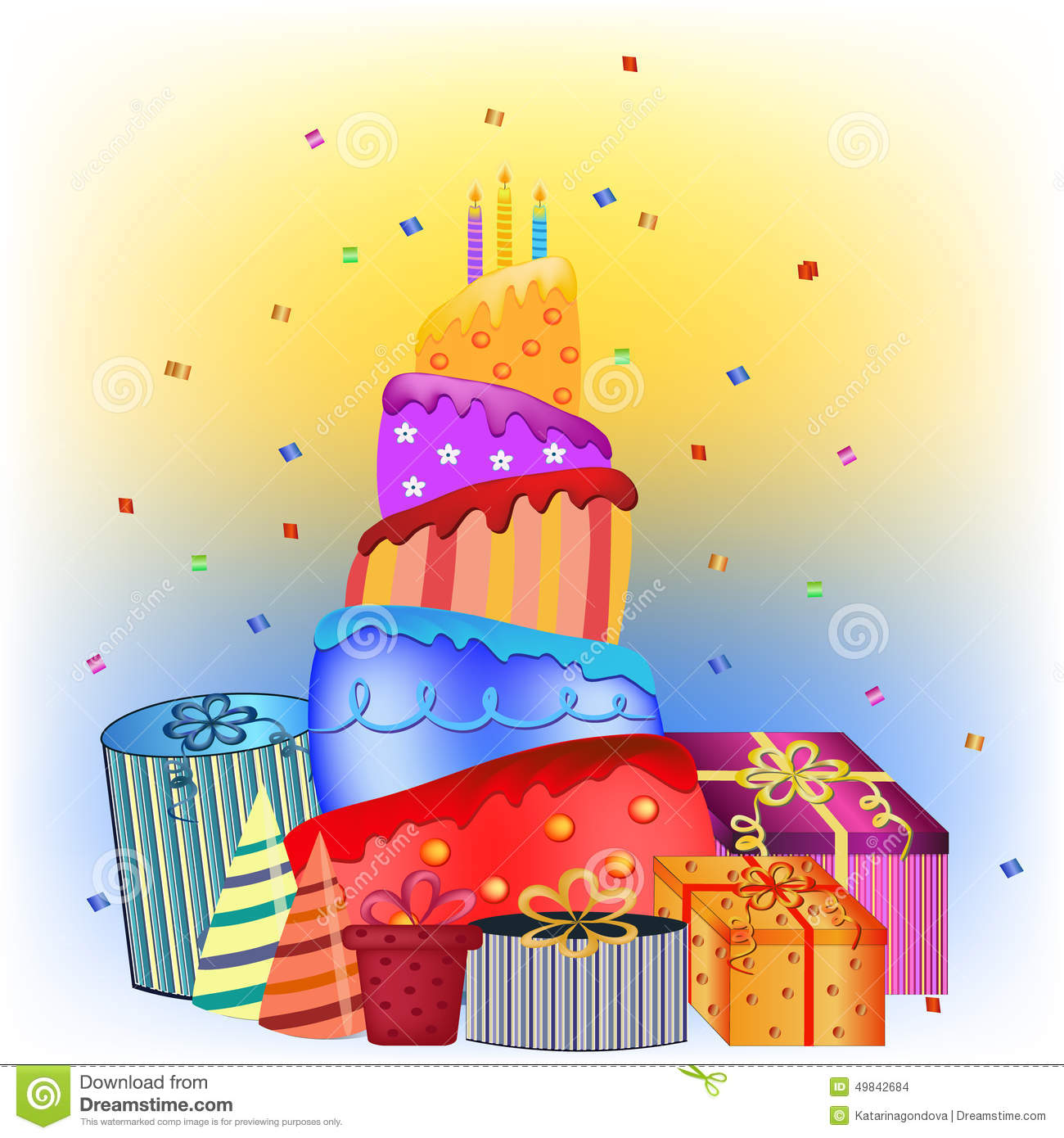 Fabulous Happy Birthday Cake And Presents Stock Vector Illustration Of Funny Birthday Cards Online Sheoxdamsfinfo