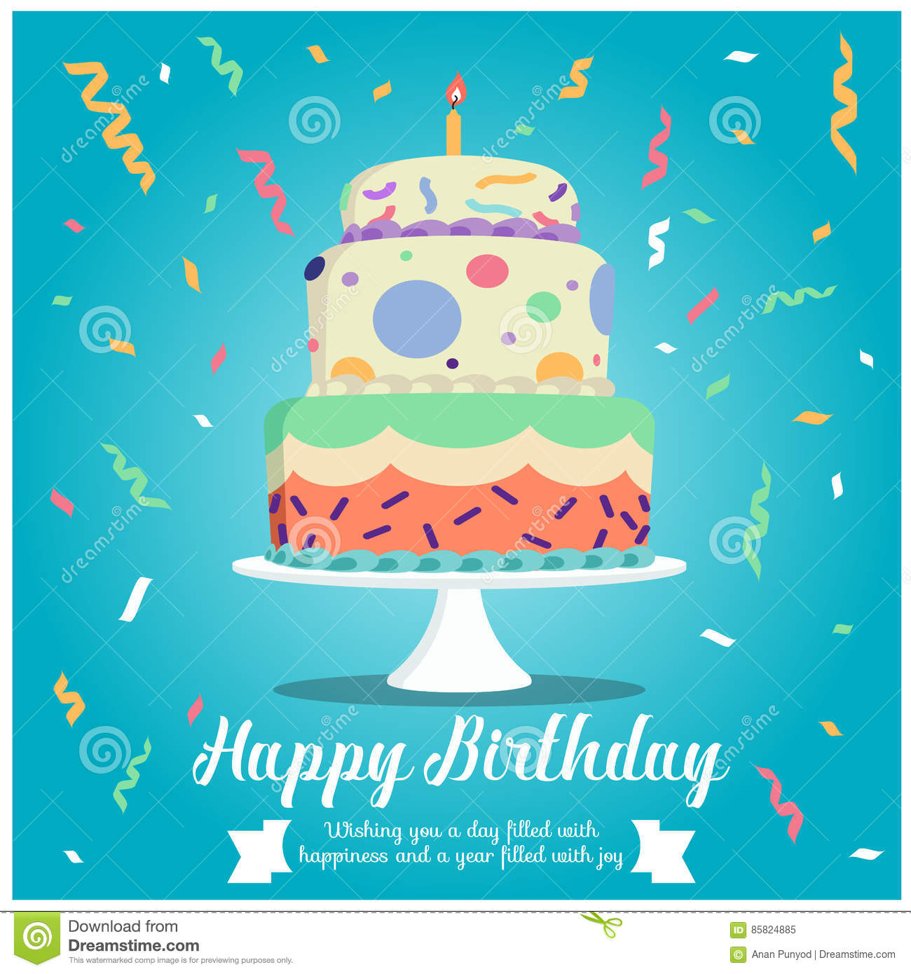 Happy Birthday Cake And Ribbon Party On Blue Background Design