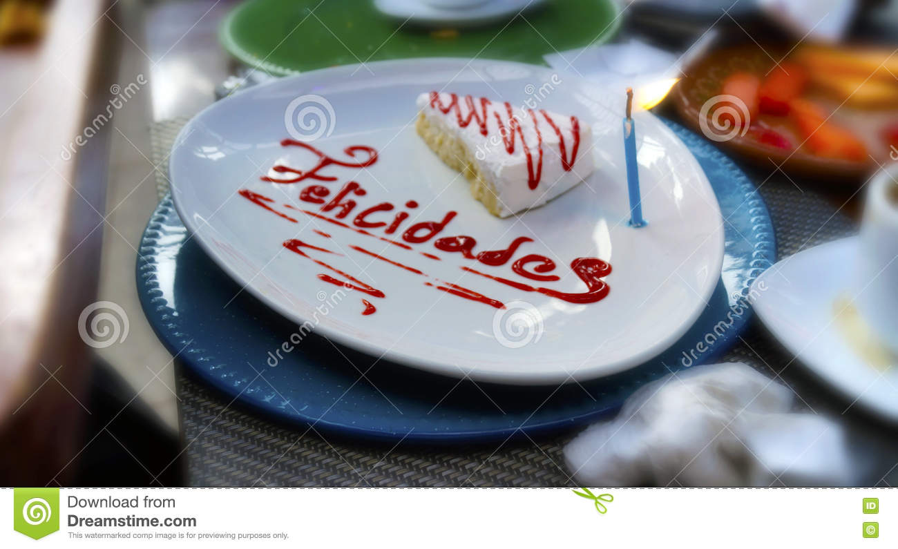 Happy Birthday Cake Slice In Mexican Party Stock Image Image Of