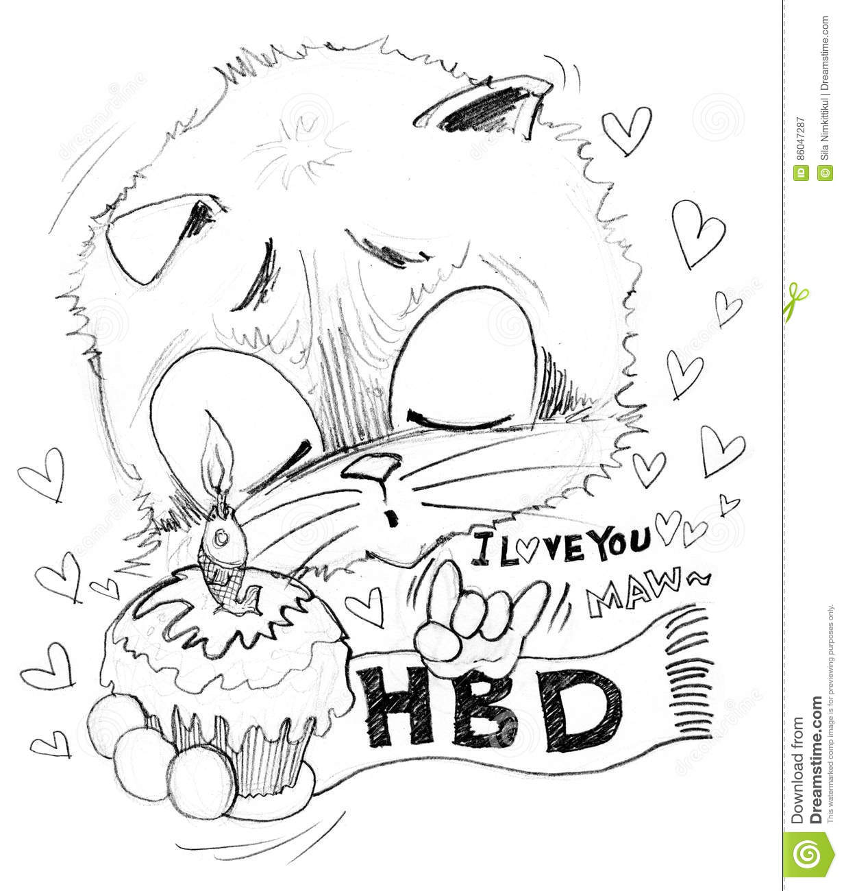 Happy birthday and cake with small word is i love you he surprise with girl friend very cute acting cat cartoon cute character pencil sketch design black