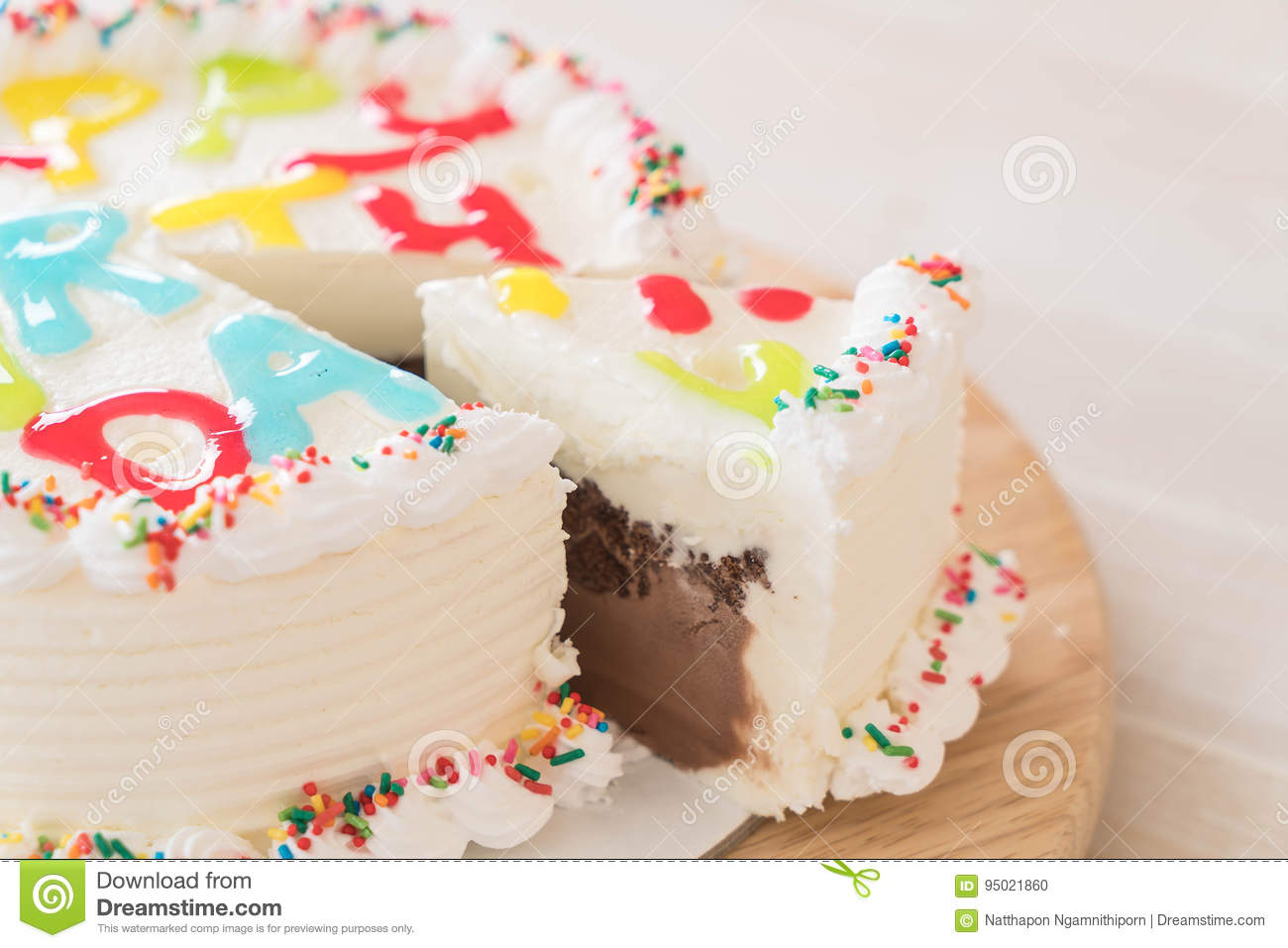 Happy Birthday Cake On Table Stock Photo Image Of Colorful Happy