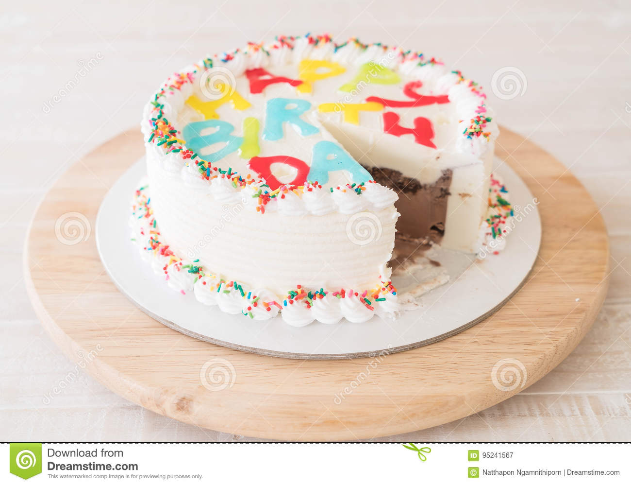 Happy Birthday Cake On Table Stock Image Image Of Chocolate Fire