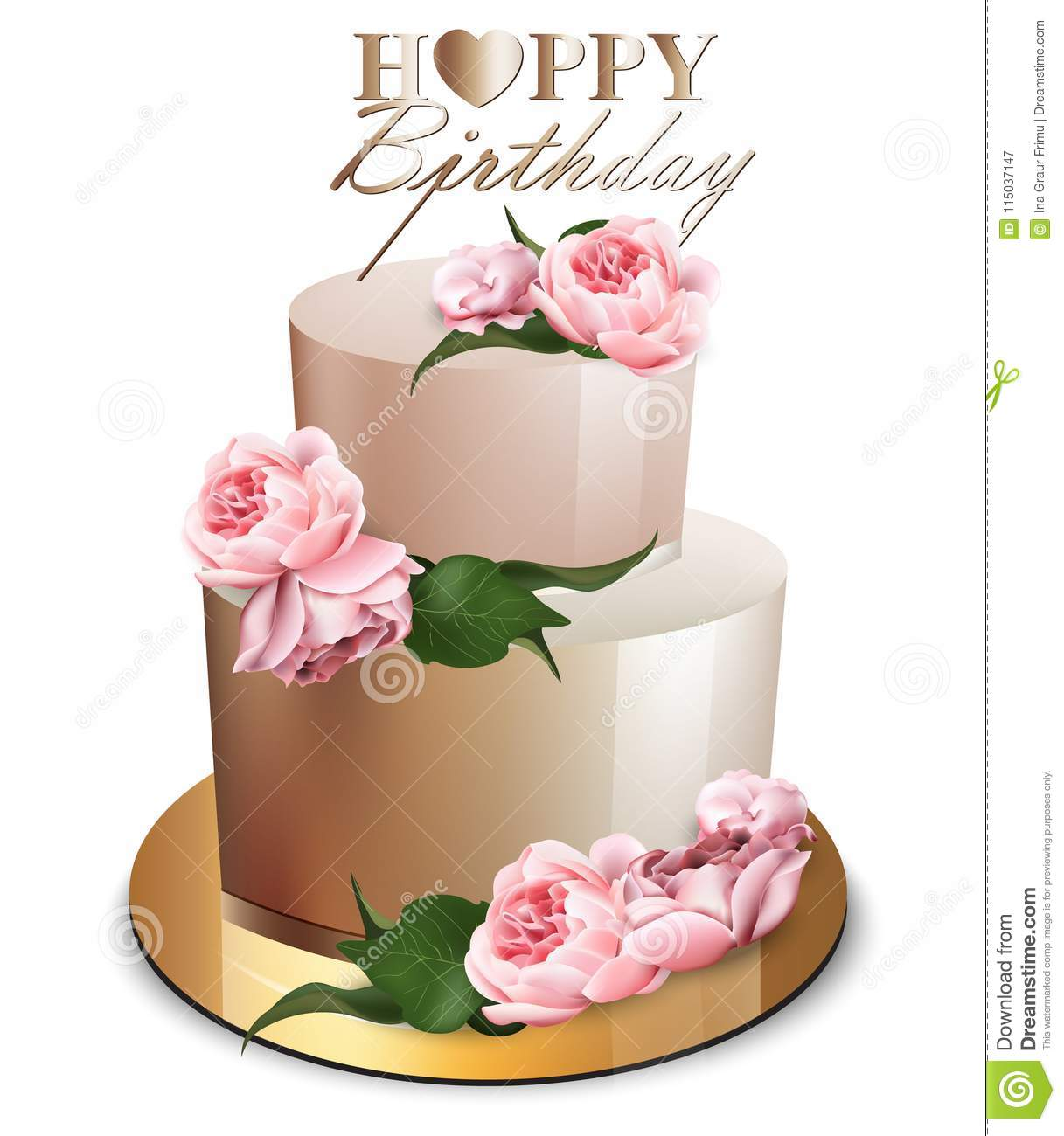 Happy Birthday Cake Vector Realistic Anniversary Wedding Ceremony Modern Desserts Golden With Peony Flowers Bouquet