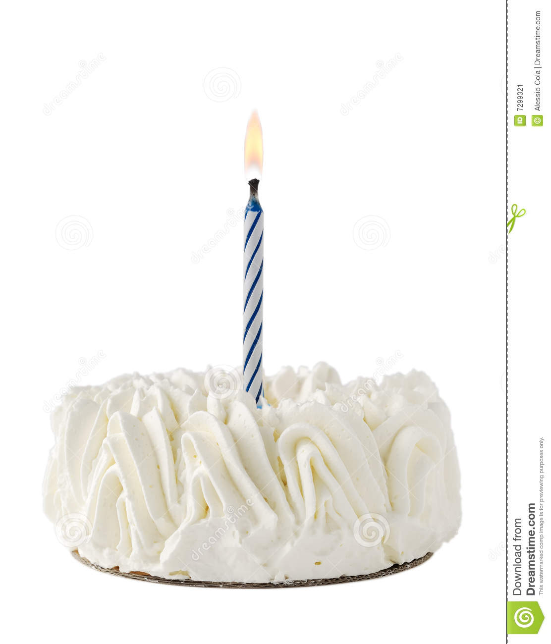Happy Birthday Cake whit one blue candle isolated on white background.