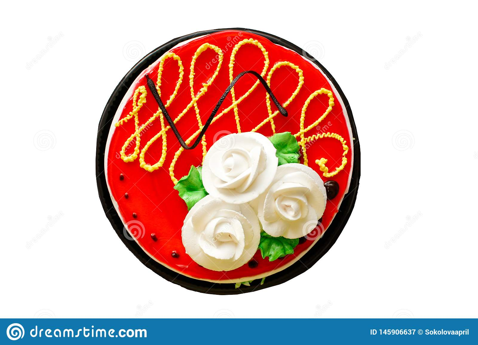 Happy Birthday Cake On White Background.Romantic Love