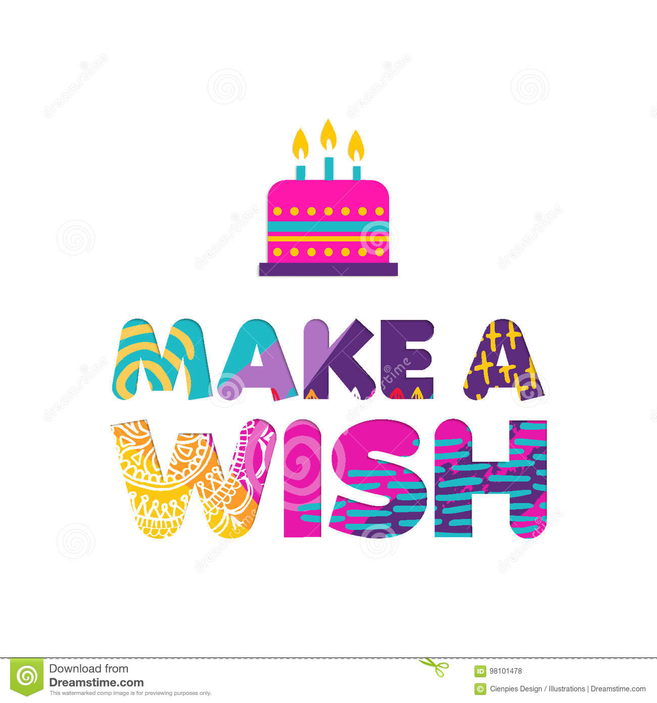 Happy Birthday Make A Wish Paper Cut Quote Design With Colorful Abstract Hand Drawn Art Ideal For Special Event Poster Card Or Party Invite