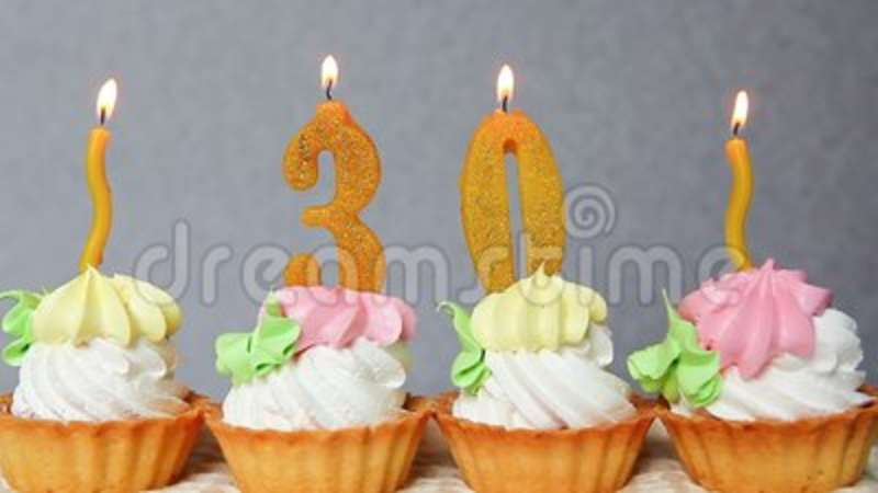 Happy 30 Birthday Cake And Yellow Numbers Candles Stock Video