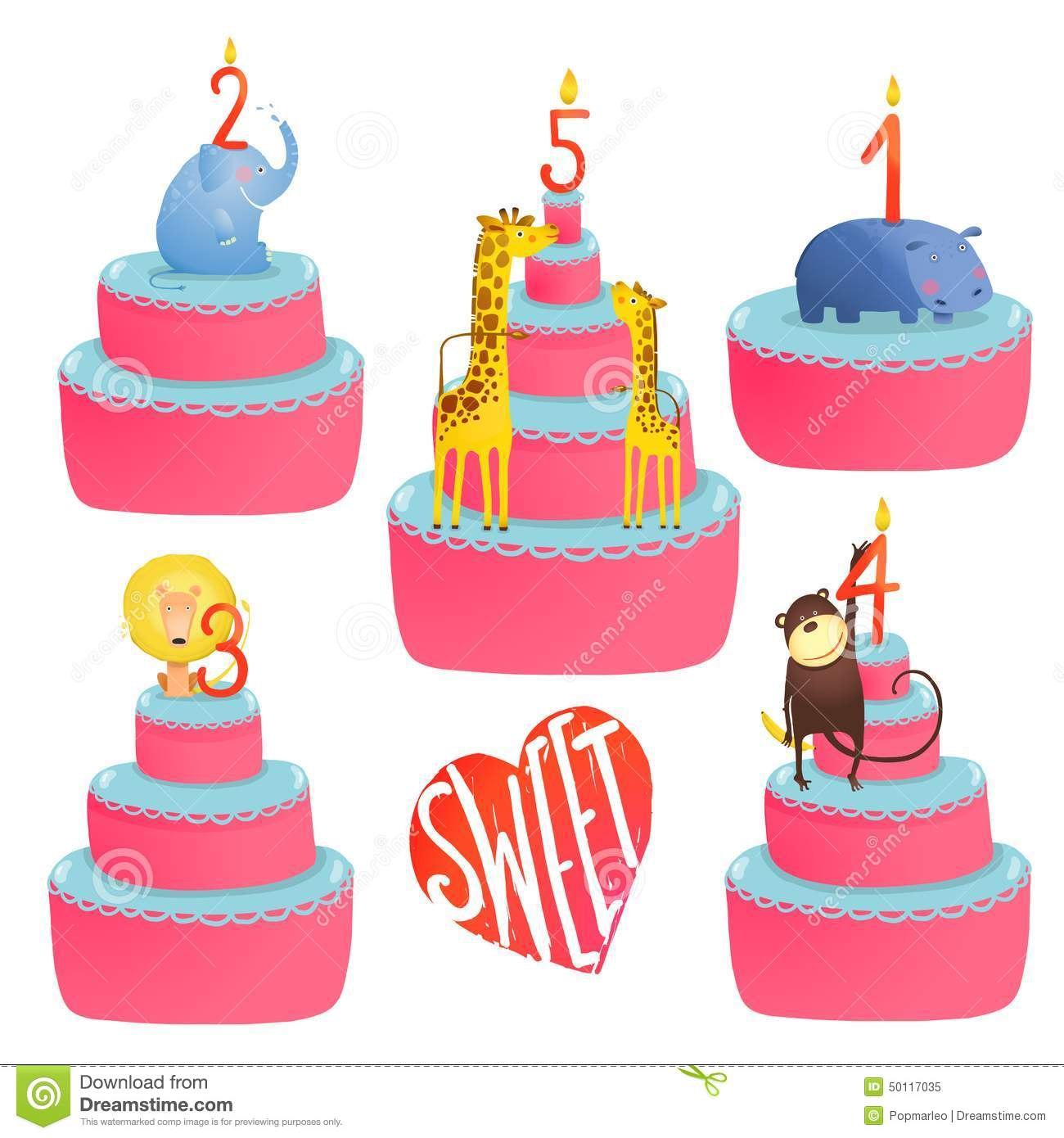 Happy Birthday Cakes Collection With Animals And Stock Vector