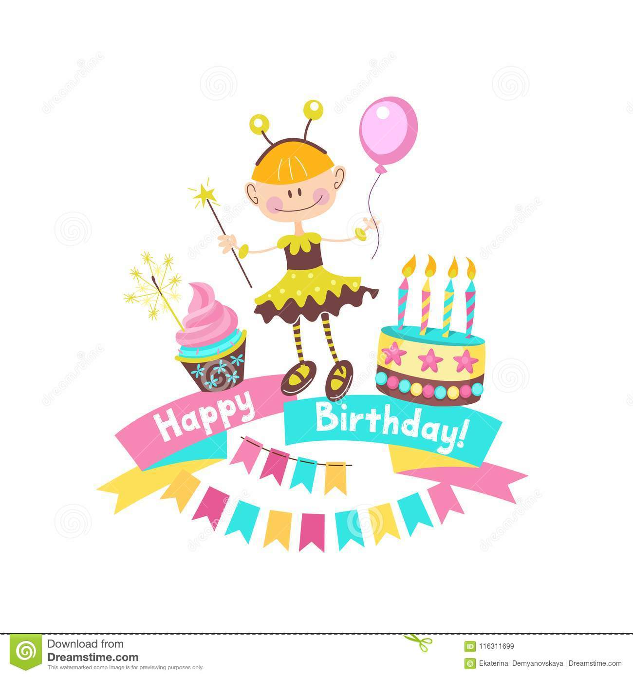 Happy Birthday The Cakes And Pastries Stock Vector