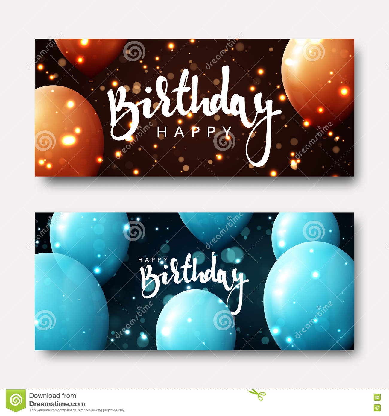 Happy Birthday Calligraphic Inscription With Balloons And