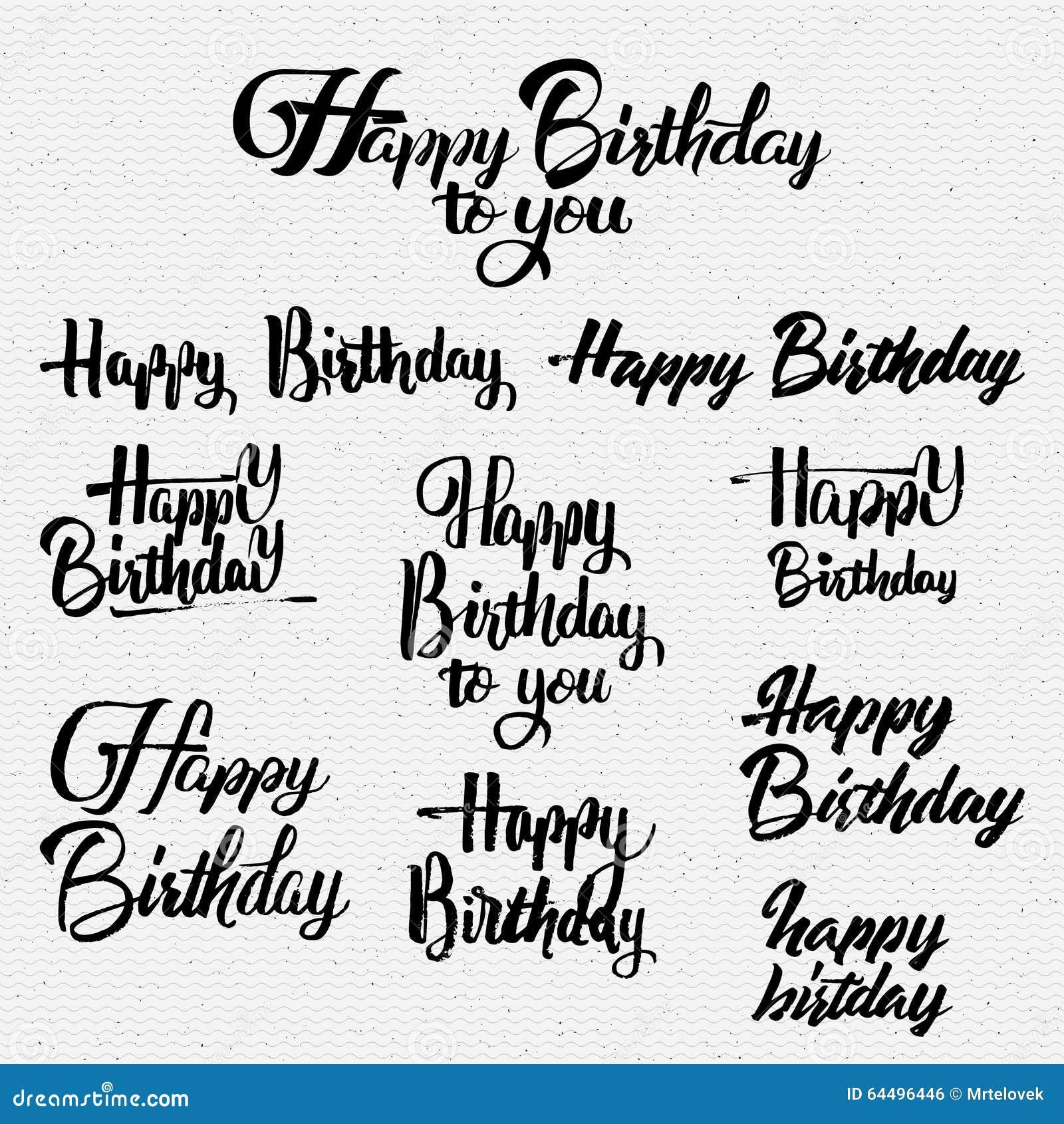 Happy Birthday Calligraphy Art Background Stock Vector - Image ...