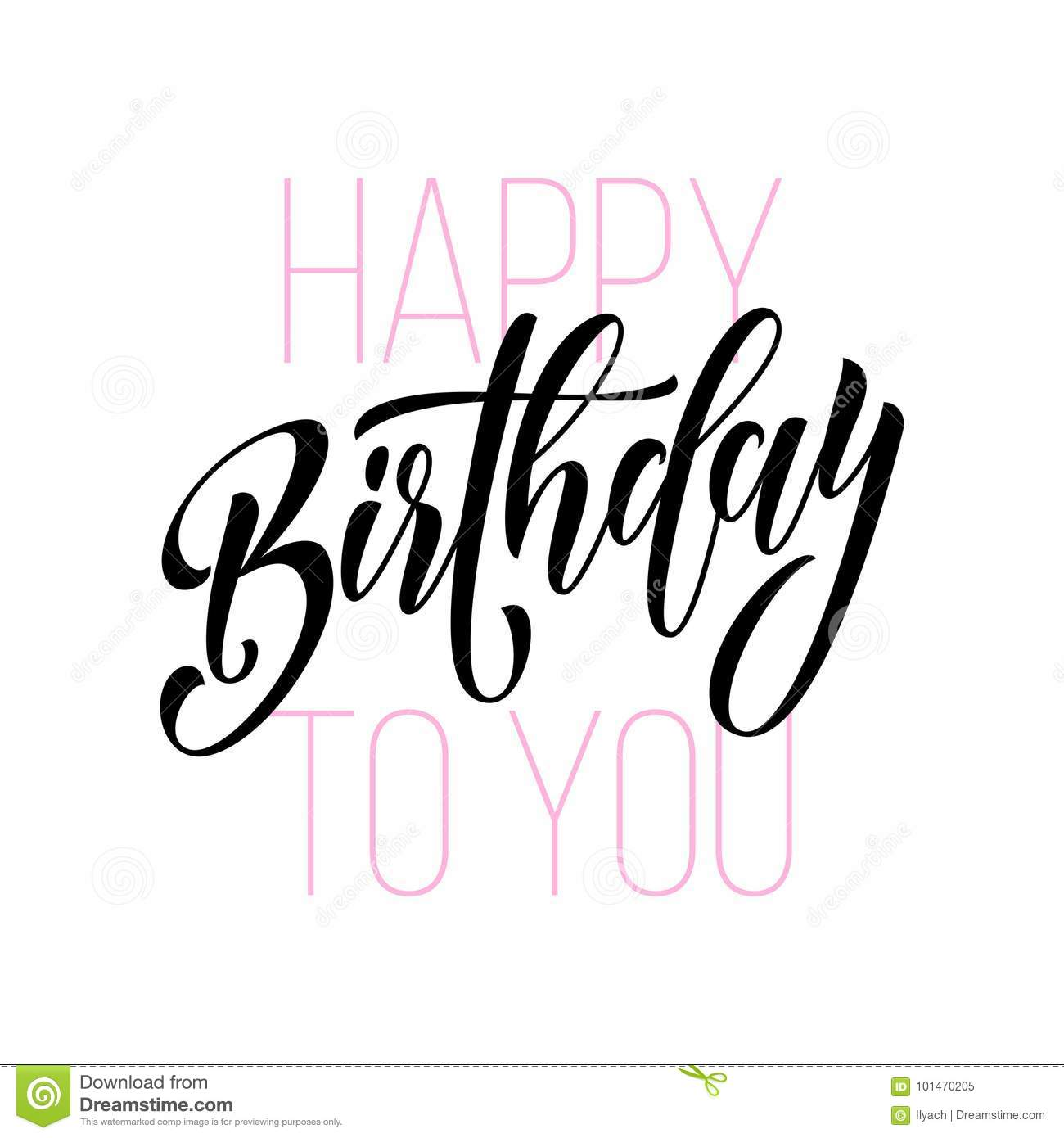 Happy Birthday Greeting Card Calligraphy Hand Drawn Vector
