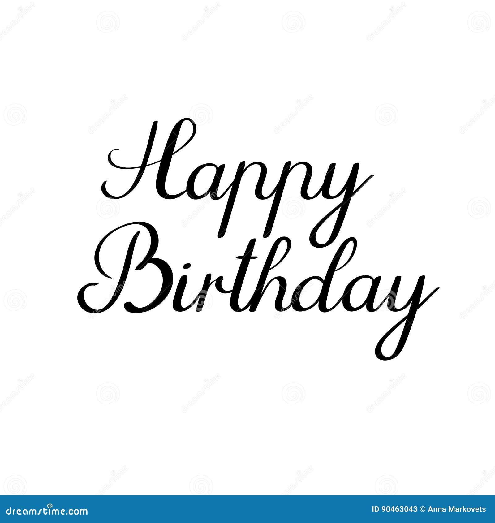 Happy Birthday Calligraphy Inscription Handwritten