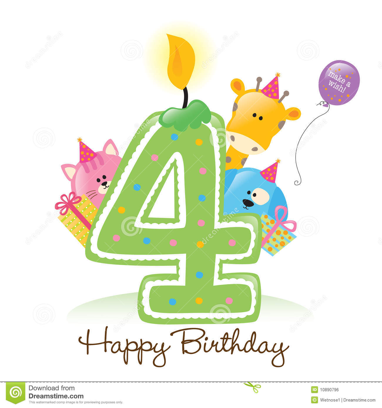 First Birthday Candle With Animals Stock Photo: Happy Birthday Candle And Animals Royalty Free Stock Image