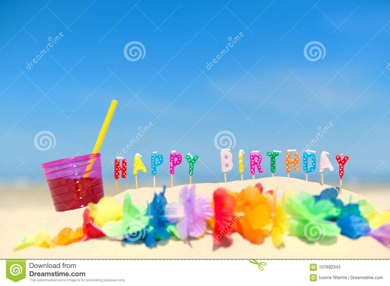 Happy Birthday Candles At Beach Stock Image Image Of Lemonade