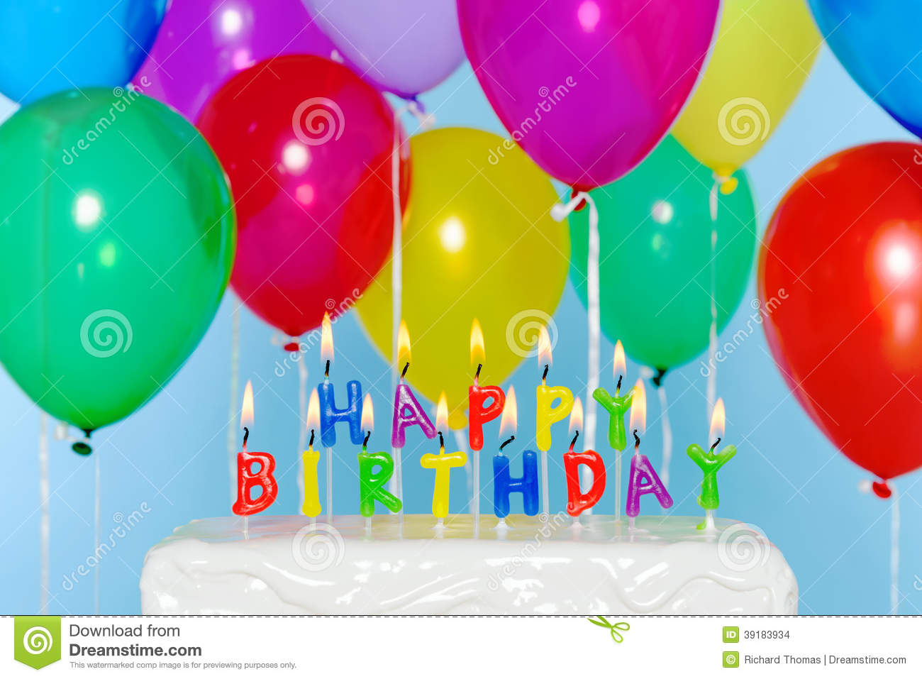 Prime Happy Birthday Candles On Cake With Balloons Stock Photo Image Personalised Birthday Cards Veneteletsinfo