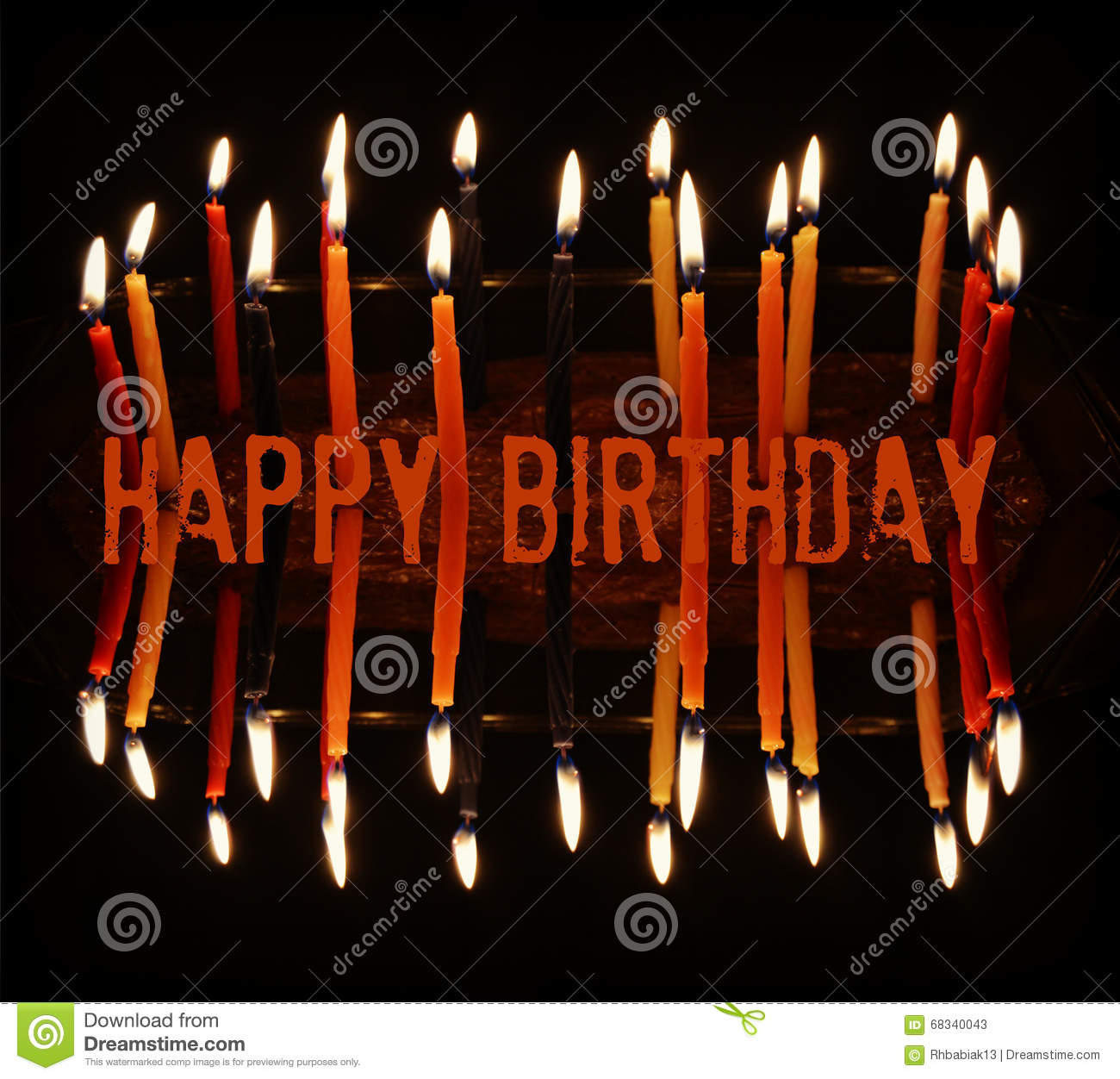 Happy Birthday Candles In Orange Red Yellow With A Mirrored Effect And The Words Written Middle