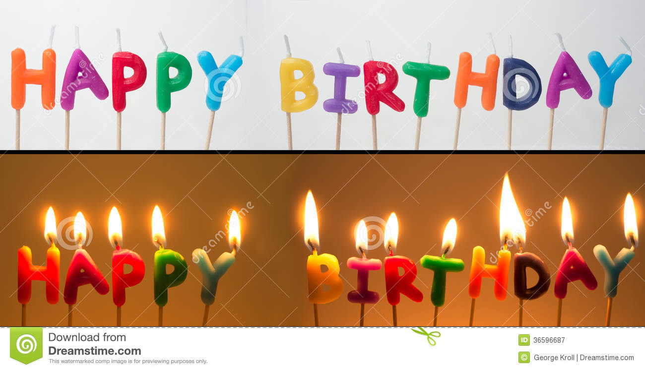 Happy Birthday Candles Stock Image Of Burning