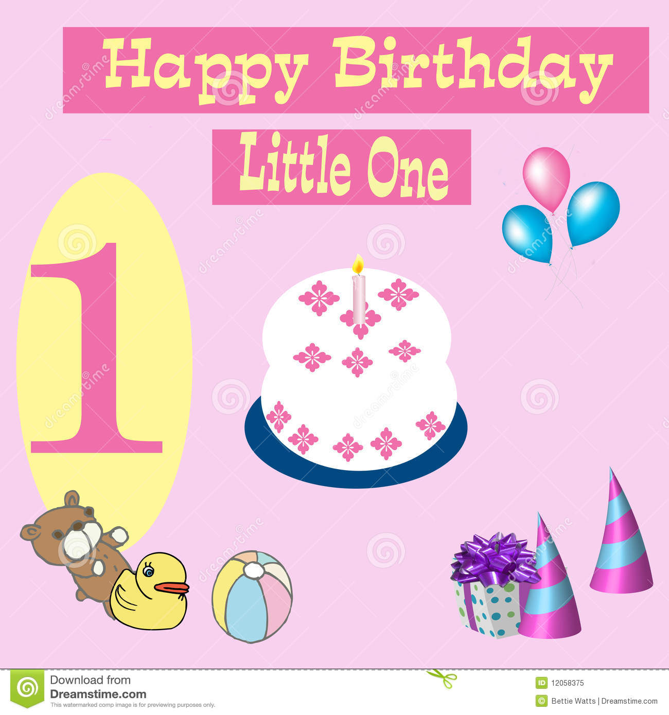 Happy Birthday Card 1 Year Old