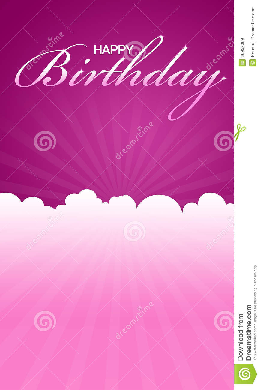 High Resolution Pink Happy Birthday Card Ready To Print