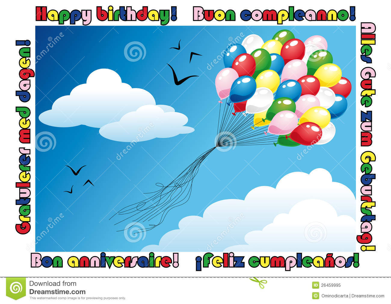 Happy Birthday Card With A Bunch Of Balloons Flying In The Blue Sky Text English Italian German Spanish French Norwegian