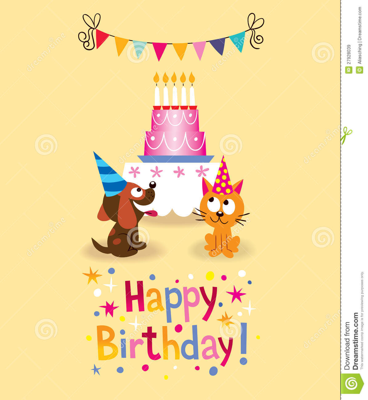 Happy Birthday Card Stock Vector Illustration Of