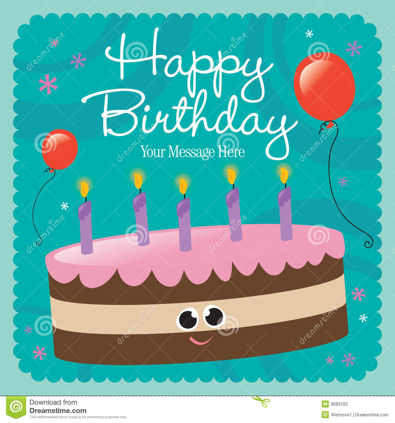 Happy Birthday Card Stock Vector Illustration Of Element
