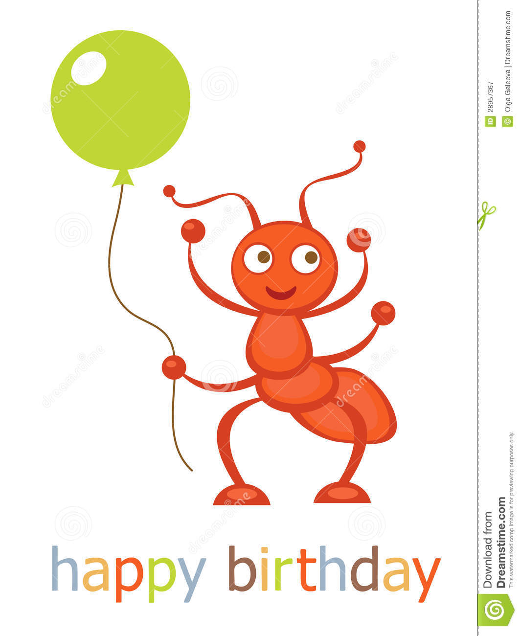Happy birthday card with ant holding balloon.