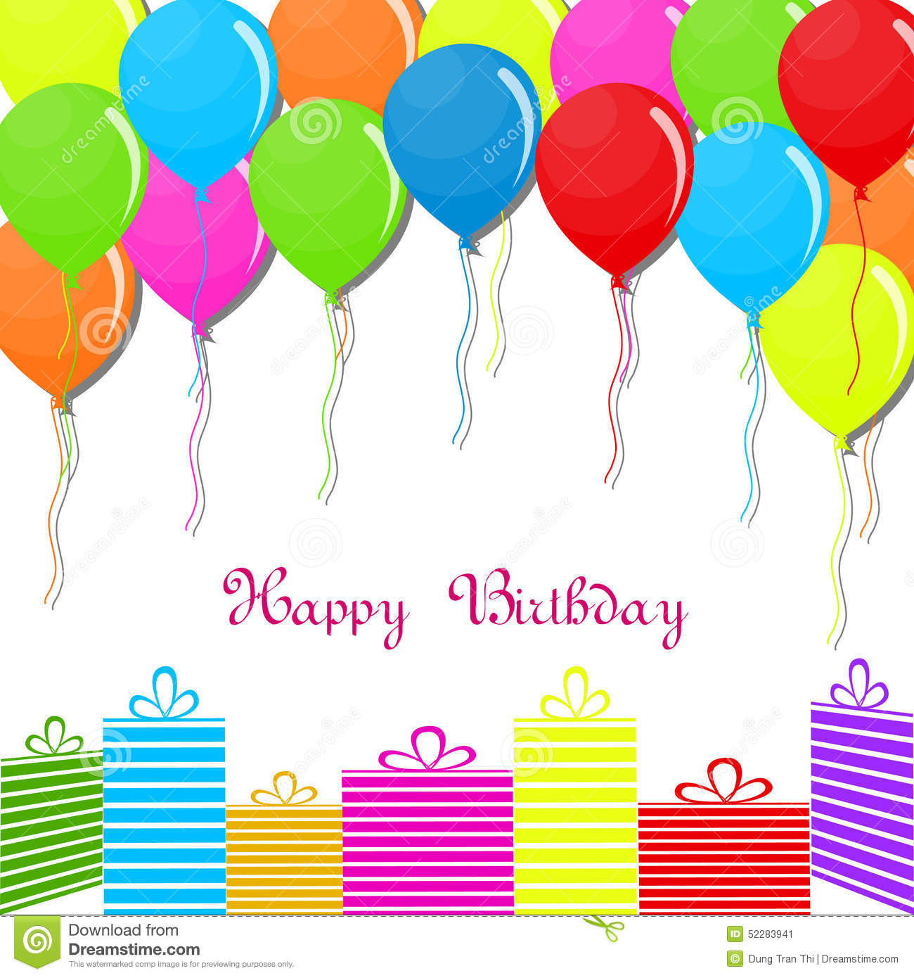 Happy Birthday Card On Background Stock Vector - Image: 52283941