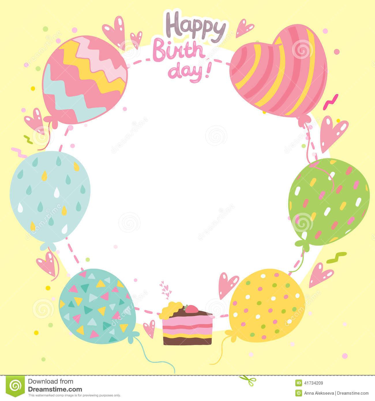 Happy Birthday Card Background With Balloons Stock Vector