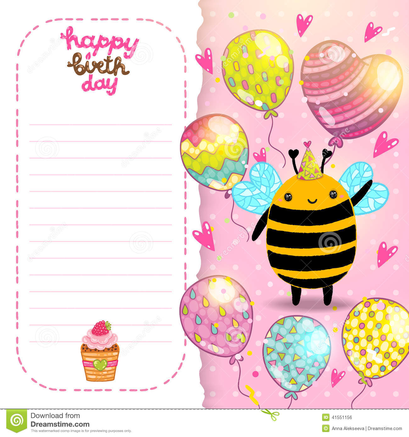 Happy Birthday Card Background With A Bee. Cutie, Insect.  Happy Birthday Cards Templates