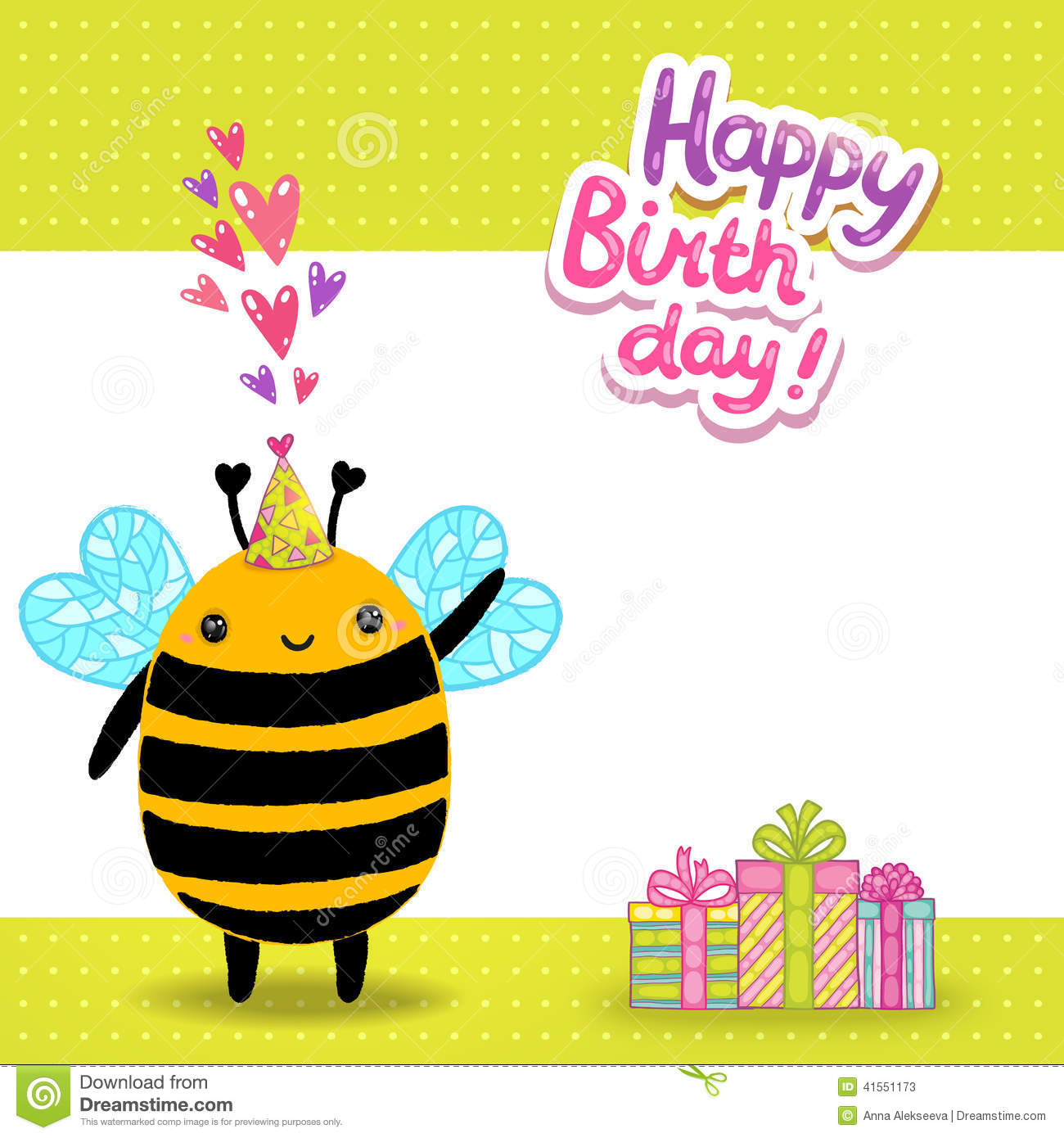 Happy Birthday Card Background With A Bee Stock Vector