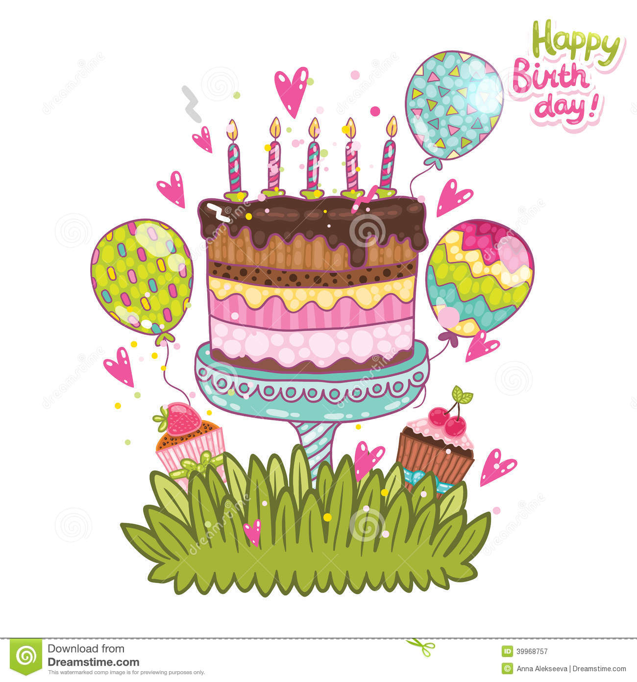 Happy Birthday Card Background With Cake Stock Vector