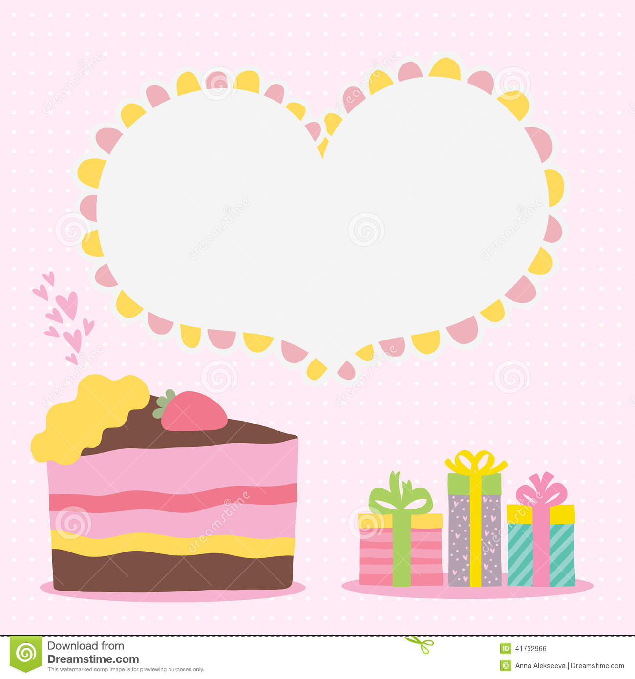 Happy Birthday Card Background With Cake Stock Vector Illustration