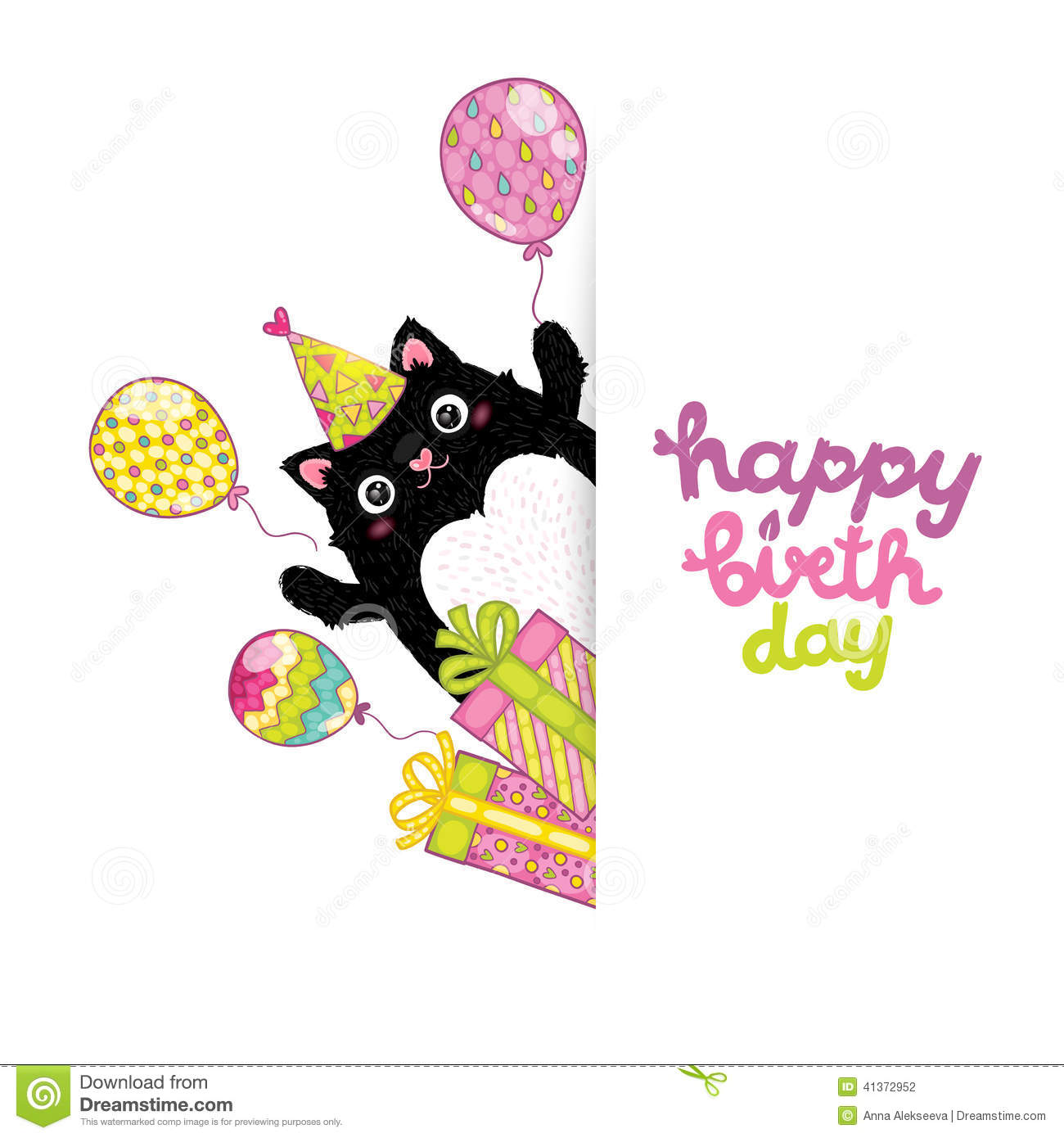 happy-birthday-card-background-cat-vector-holiday-party-template-41372952