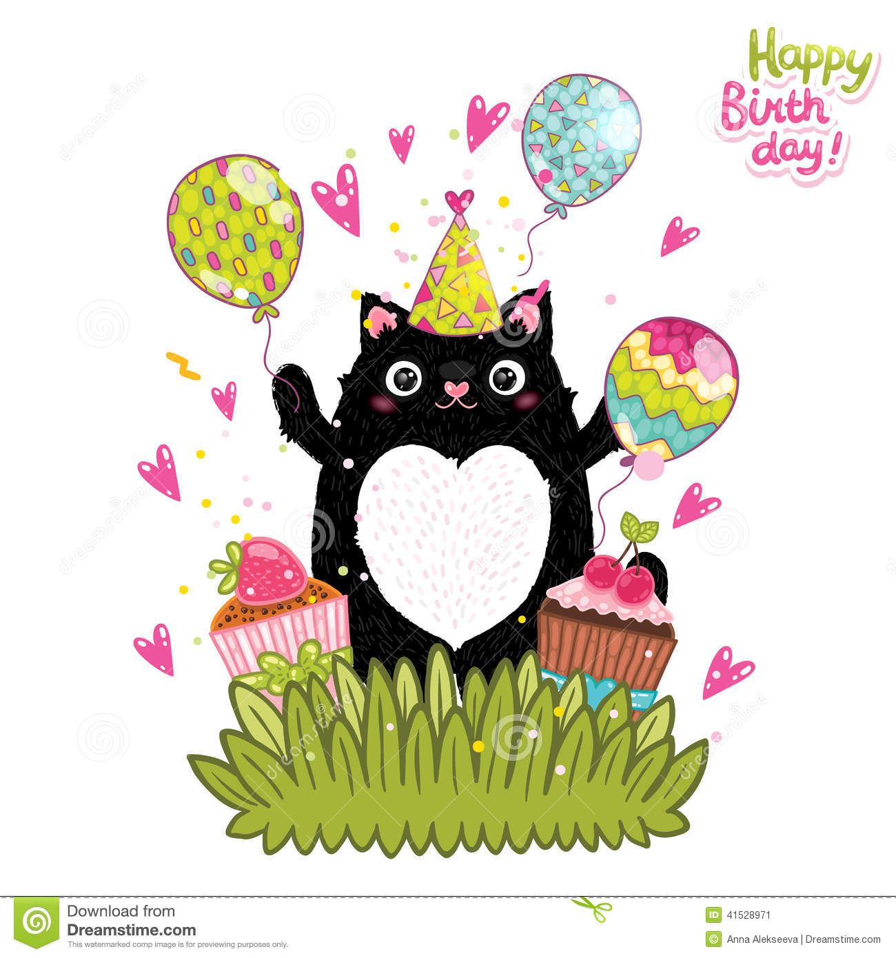 Happy Birthday Card Background With A Cat Stock Vector