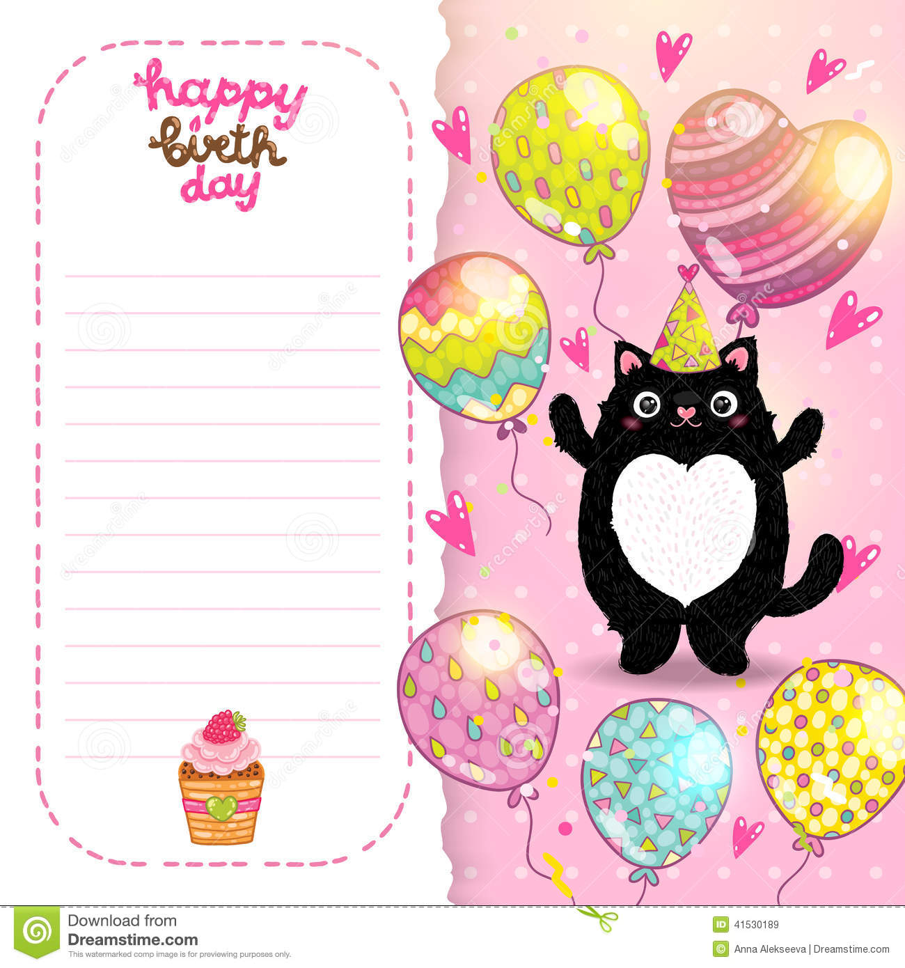 Happy Birthday Card Background With A Cat
