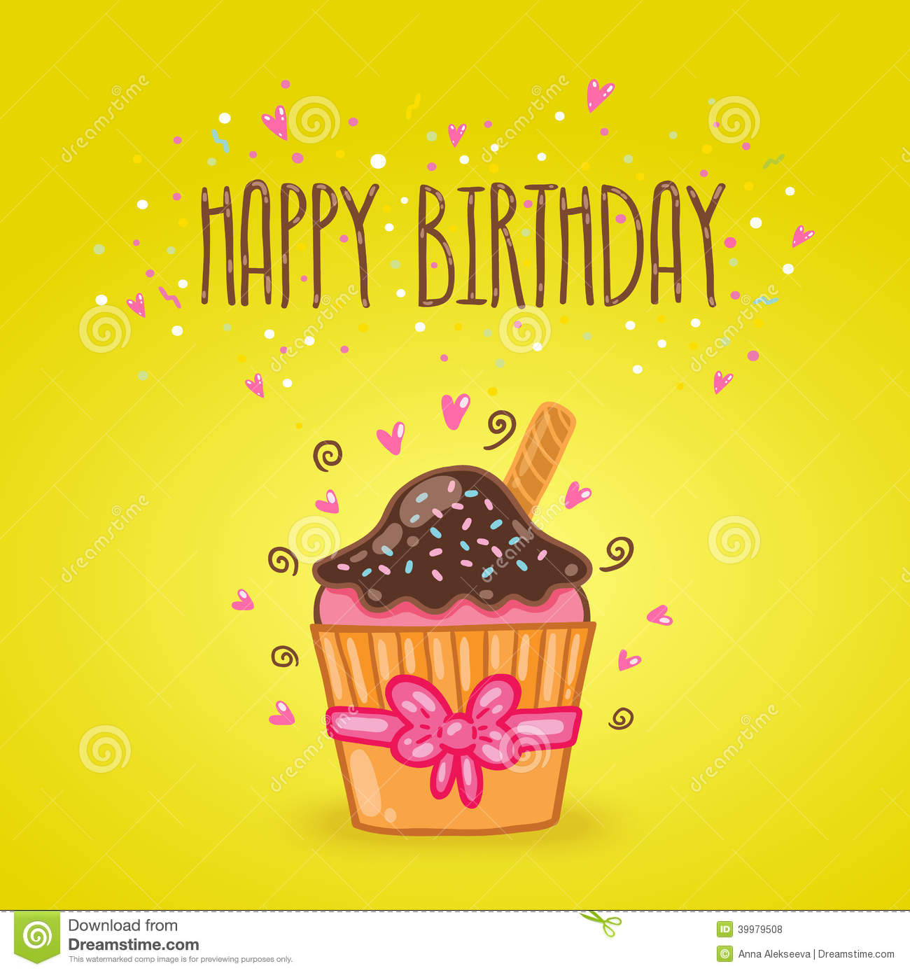 Happy Birthday Card Background With Cupcake Stock Vector