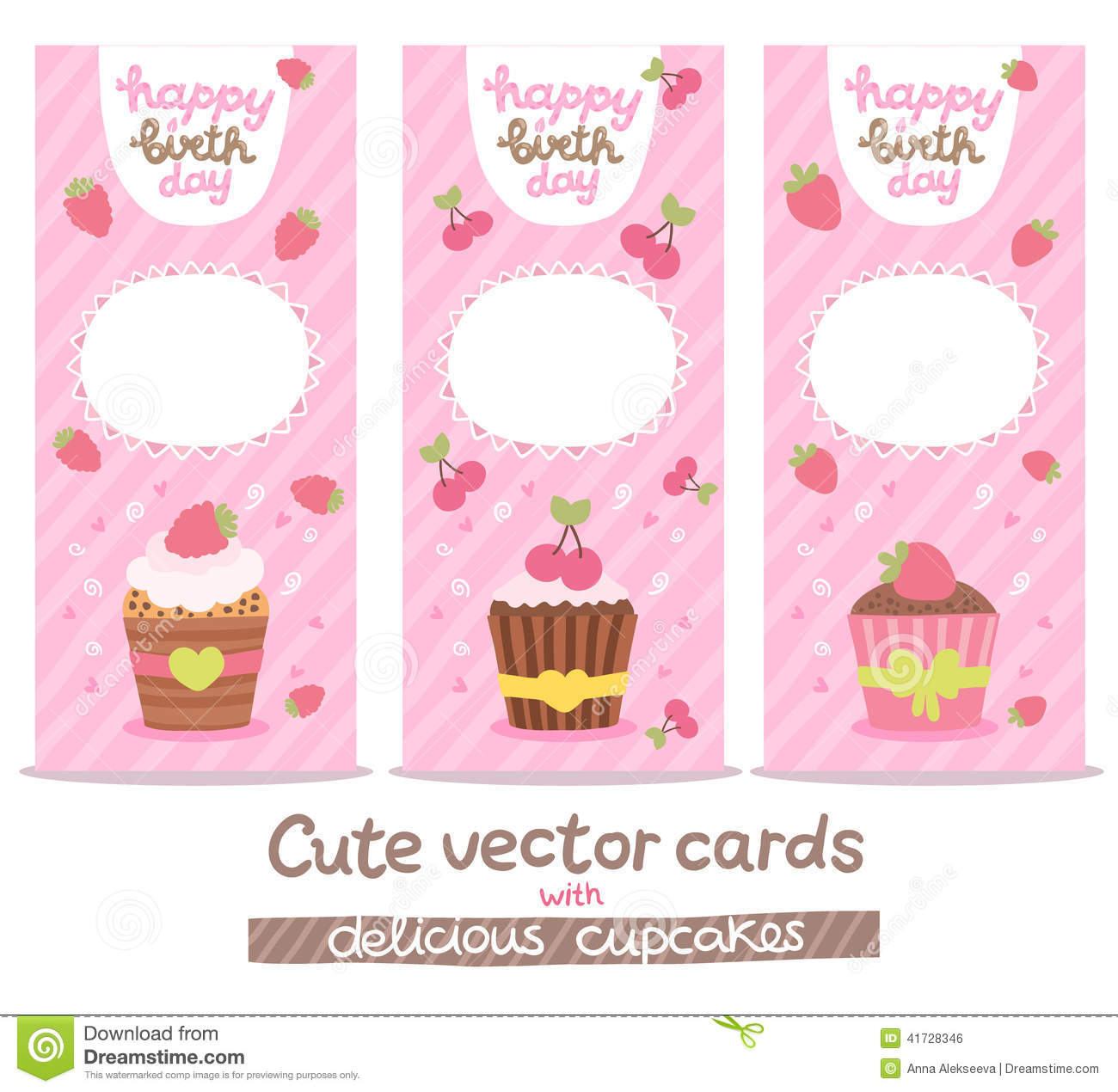Happy Birthday Card Background With Cupcakes