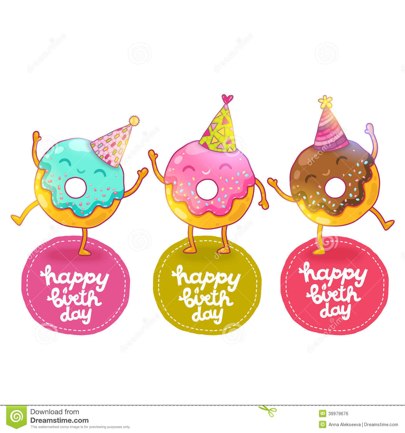 Happy Birthday Card Background With Cute Donut. Stock Vector - Image: 39979676