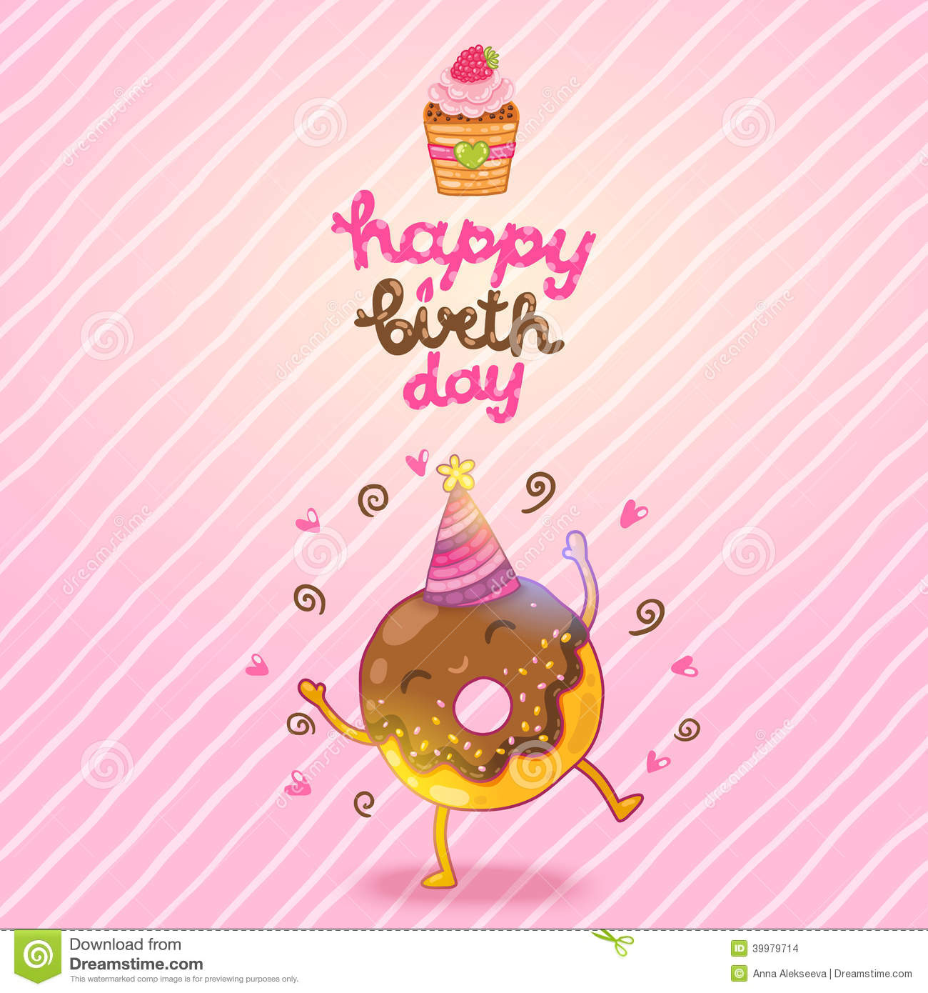 Happy Birthday card background with cute donut. Vector holiday party ...